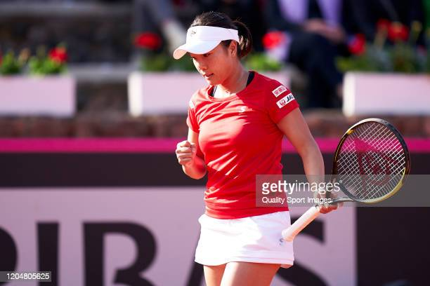 Kurumi Nara of Japan reacts during her match against Carla Suarez of Spain during the 2020 Fed Cup Qualifier between Spain and Japan at Centro de...