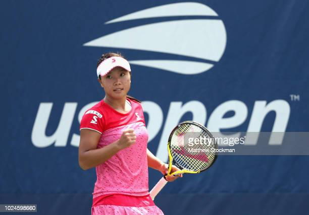 Kurumi Nara of Japan reacts in her women's singles first round match against Elise Mertens of Belgium on Day One of the 2018 US Open at the USTA...
