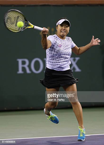 Kurumi Nara of Japan returns a shot against Venus Williams during the BNP Paribas Open at the Indian Wells Tennis Garden on March 11 at Indian Wells...