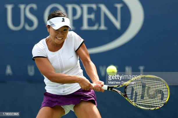 Kurumi Nara of Japan returns a shot during her second round match against Sorana Cirstea of Romania on Day Four of the 2013 US Open at USTA Billie...