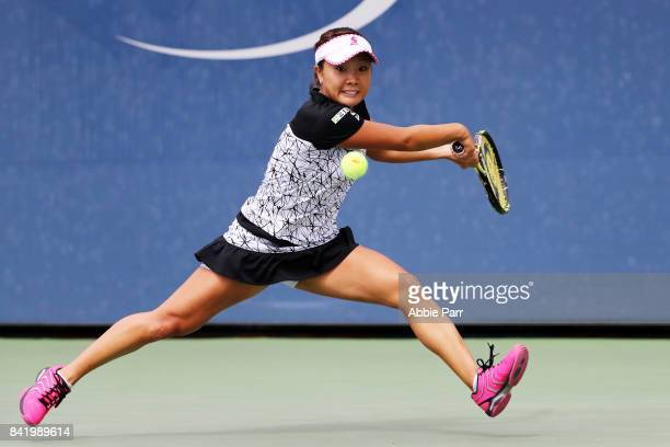 Kurumi Nara of Japan returns a shot to Lucie Safarova of Czech Republic during their third round match on Day Six of the 2017 US Open at the USTA...