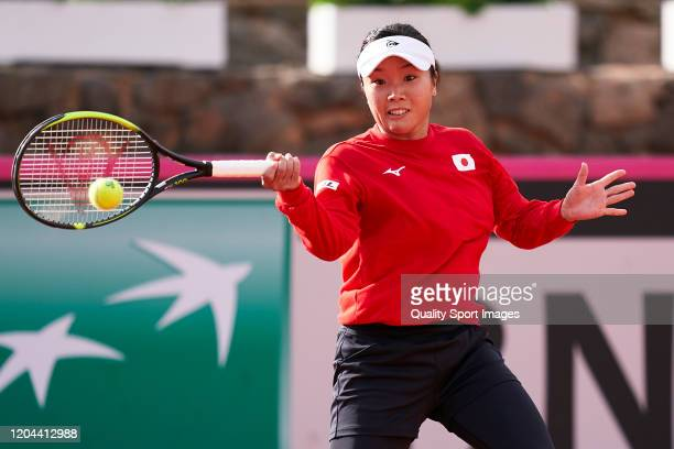 Kurumi Nara of Japan returns the ball during a practice session ahead of the 2020 Fed Cup Qualifier between Spain and Japan at Centro de Tenis La...