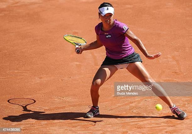 Kurumi Nara of Japan returns the ball to Klara Zakopalova of Czech Republic during the ATP Rio Open 2014 at Jockey Club Rio de Janeiro on February 23...