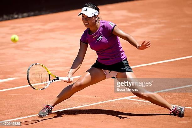 Kurumi Nara of Japan returns the ball to Lourdes Dominguez Lino of Spain during the ATP Rio Open 2014 at Jockey Club Rio de Janeiro on February 21...