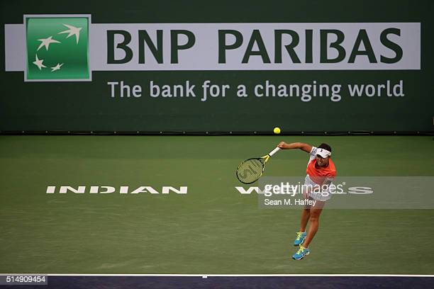 Kurumi Nara of Japans serves against Venus Williams during the BNP Paribas Open at the Indian Wells Tennis Garden on March 11 at Indian Wells Tennis...