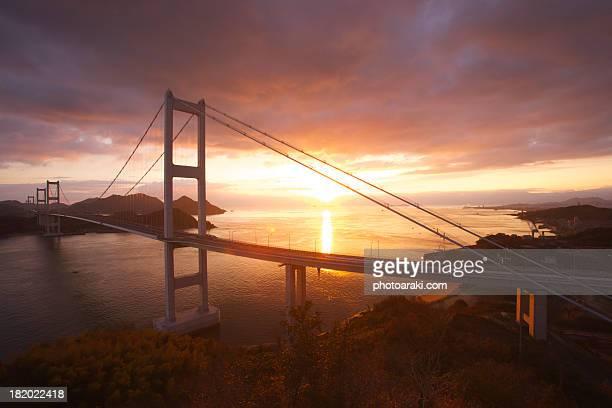 Kurushima Bridge Morning sun