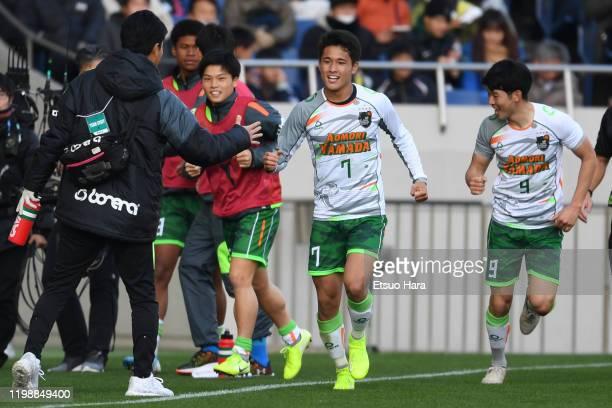 Kuryu Matsuki of Aomori Yamada celebrates scoring his side's second goal during the 98th All Japan High School Soccer Tournament semi final match...