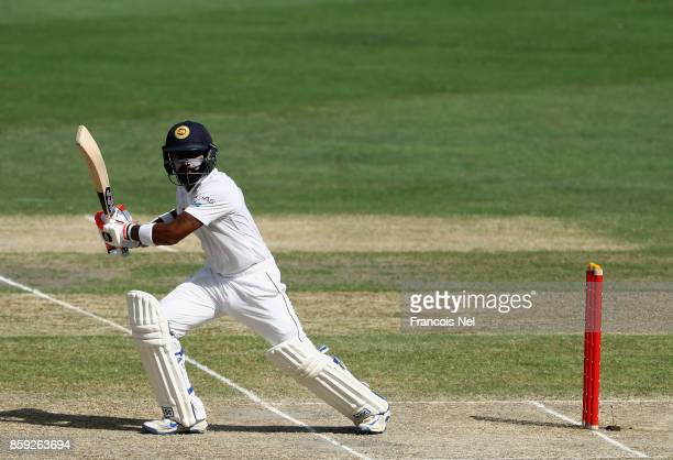 Kusal Mendis of Sri Lanka bats during Day Four of the Second Test between Pakistan and Sri Lanka at Dubai International Cricket Ground on October 9...