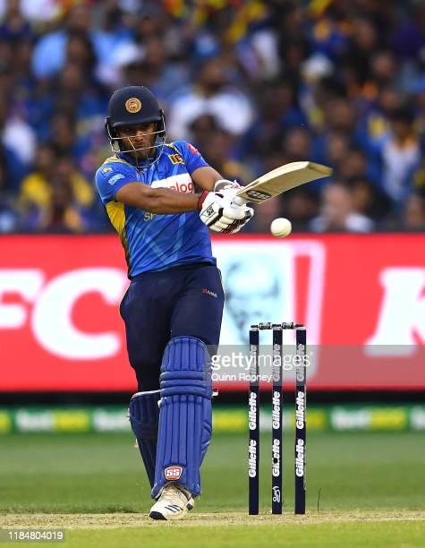 Kusal Mendis of Sri Lanka bats during game three of the Men's International Twenty20 match between Australia and Sri Lanka at Melbourne Cricket...