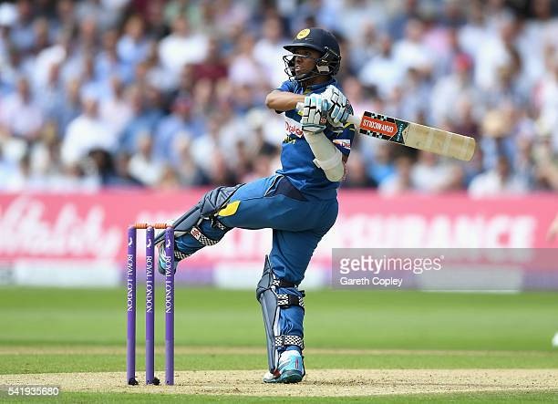Kusal Mendis of Sri Lanka bats during the 1st ODI Royal London One Day match between England and Sri Lanka at Trent Bridge on June 21 2016 in...