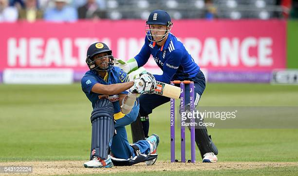 Kusal Mendis of Sri Lanka bats during the 3rd ODI Royal London One Day International match between England and Sri Lanka at The County Ground on June...