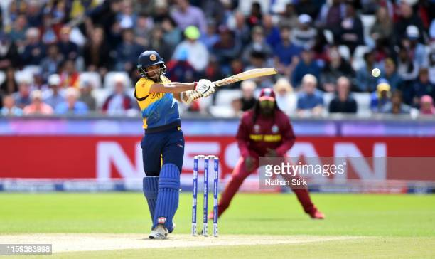 Kusal Mendis of Sri Lanka bats during the Group Stage match of the ICC Cricket World Cup 2019 between Sri Lanka and West Indies at Emirates Riverside...
