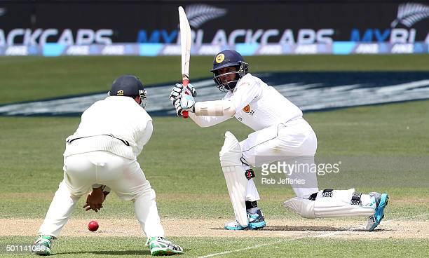 Kusal Mendis of Sri Lanka bats the ball through the onside during day four of the First Test match between New Zealand and Sri Lanka at University...