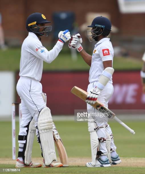 Kusal Mendis of Sri Lanka celebrate scoring 50 runs during day 3 of the 2nd Castle Lager Test match between South Africa and Sri Lanka at St George's...