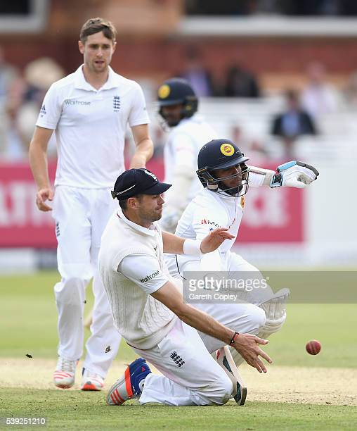 Kusal Mendis of Sri Lanka crashes into James Anderson of England as he makes his ground during day two of the 3rd Investec Test match between England...