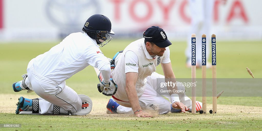 Kusal Mendis of Sri Lanka crashes into James Anderson of England as he makes his ground during day two of the 3rd Investec Test match between England and Sri Lanka at Lord's Cricket Ground on June 10, 2016 in London, United Kingdom.