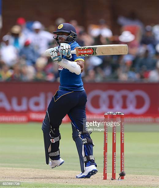 Kusal Mendis of Sri Lanka during the 1st One Day International match between South Africa and Sri Lanka at St Georges Park on January 28 2017 in Port...