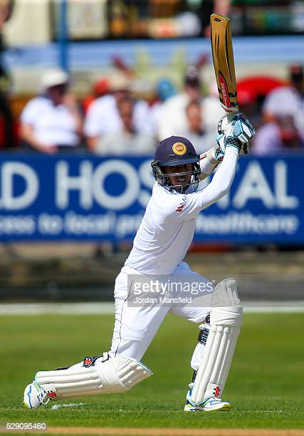 Kusal Mendis of Sri Lanka hits out during Day One of the tour match between Essex and Sri Lanka at the Ford County Ground on May 08 2016 in...