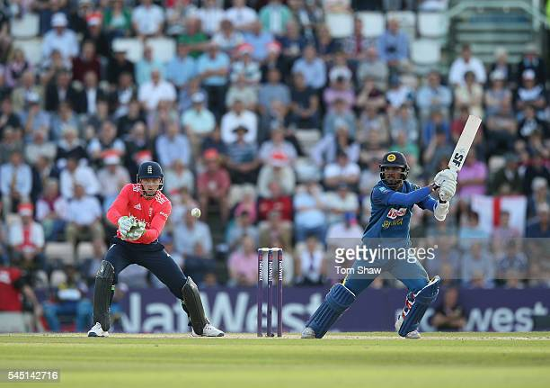 Kusal Mendis of Sri Lanka hits out during the 1st NatWest T20 International between England and Sri Lanka at Ageas Bowl on July 5 2016 in Southampton...