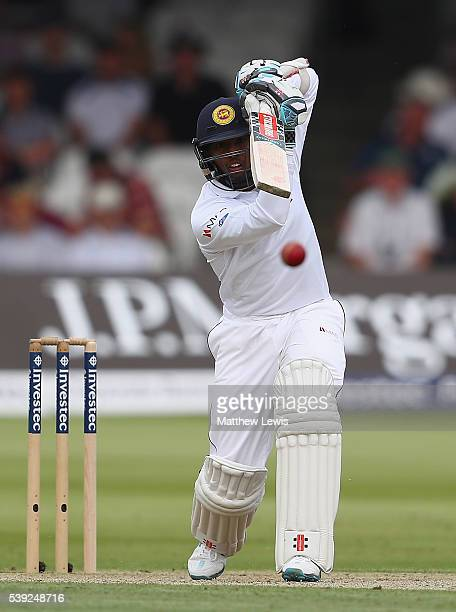 Kusal Mendis of Sri Lanka hits the ball towards the boundary during day two of the 3rd Investec Test match between England and Sri Lanka at Lord's...