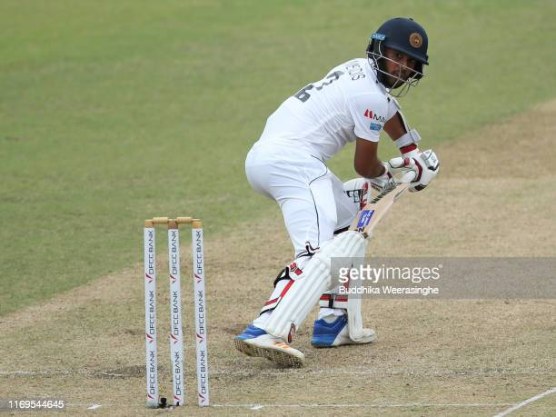 Kusal Mendis of Sri Lanka in action during day one of the Second Test match between Sri Lanka and New Zealand at P Sara Oval Stadium on August 22...
