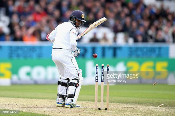 Kusal Mendis of Sri Lanka is bowled by James Anderson of England during day three of the 1st Investec Test match at Headingley on May 20 2016 in...