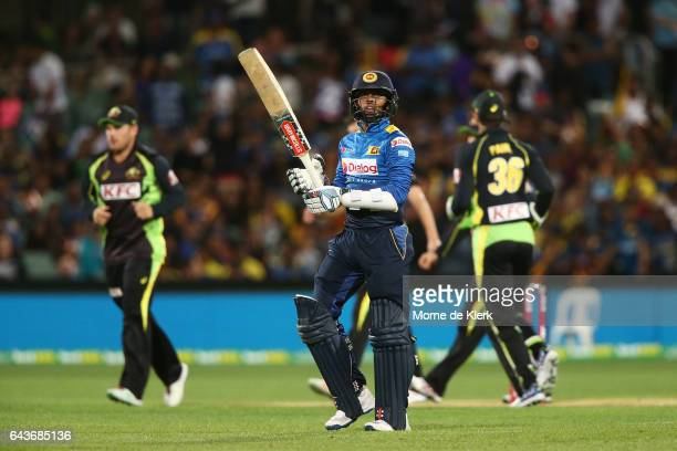 Kusal Mendis of Sri Lanka leaves the field after getting out to Jhye Richardson of Australia during the International Twenty20 match between...