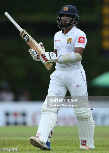 Kusal Mendis of Sri Lanka looks dejected after being dismissed during the day five of the Second Test match between Sri Lanka and New Zealand at...