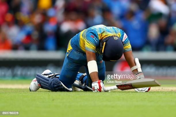 Kusal Mendis of Sri Lanka looks on after being run out during the ICC Champions trophy cricket match between India and Sri Lanka at The Oval in...
