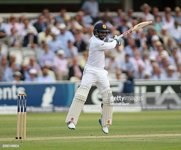 Kusal Mendis of Sri Lanka plays a shot during day two of the 3rd Investec Test match between England and Sri Lanka at Lords Cricket Ground on June 10...