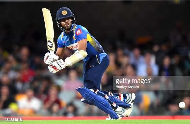 Kusal Mendis of Sri Lanka plays a shot during game two of the Men's International Twenty20 series between Australia and Sri Lanka at The Gabba on...