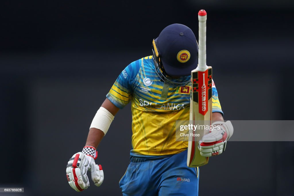 Kusal Mendis of Sri Lanka reacts after being run out during the ICC Champions trophy cricket match between India and Sri Lanka at The Oval in London on June 8, 2017