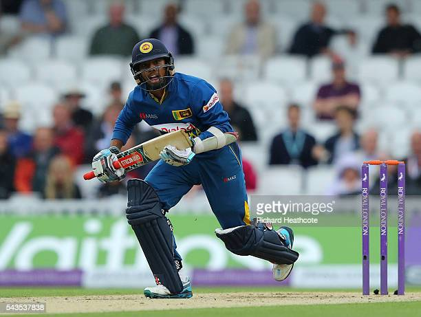 Kusal Mendis of Sri Lanka runs down the pitch during the 4th Royal London ODI between England and Sri Lanka at The Kia Oval on June 29 2016 in London...