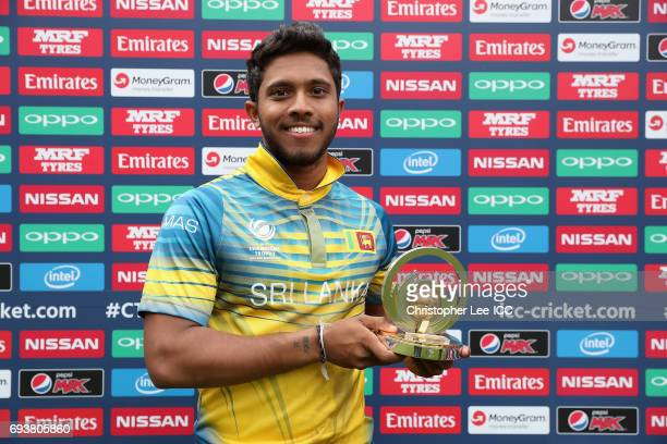 Kusal Mendis of Sri Lanka with his Man of the Match award during the ICC Champions Trophy Group B match between India and Sri Lanka at The Kia Oval...