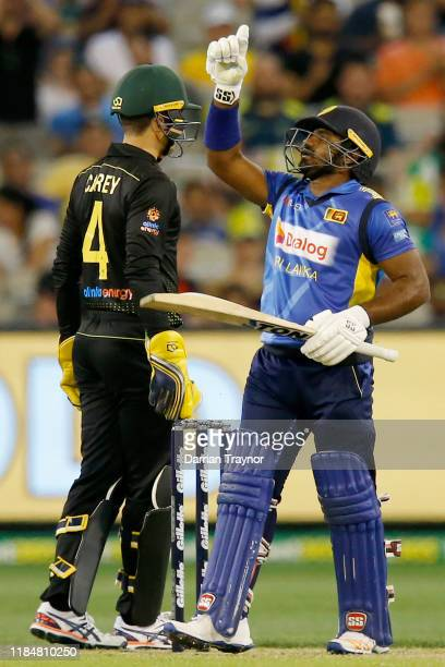 Kusal Perera of Sri Lanka celebrates after scoring 50 runs during game three of the Men's International Twenty20 match between Australia and Sri...