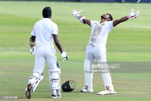 Kusal Perera of Sri Lanka celebrates during day 4 of the 1st Test match between South Africa and Sri Lanka at Kingsmead Stadium on February 16 2019...