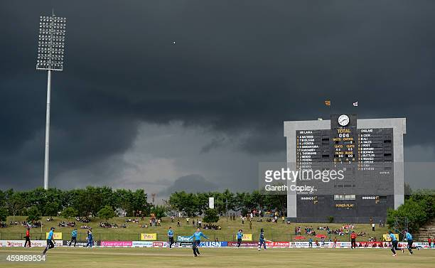 Kusal Perera of Sri Lanka is caught out by Eoin Morgan of England during the 3rd One Day International between Sri Lanka and England at Mahinda...