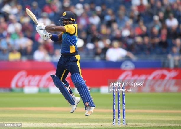 Kusal Perera of Sri Lanka plays a shot during the Group Stage match of the ICC Cricket World Cup 2019 between Sri Lanka and West Indies at Emirates...
