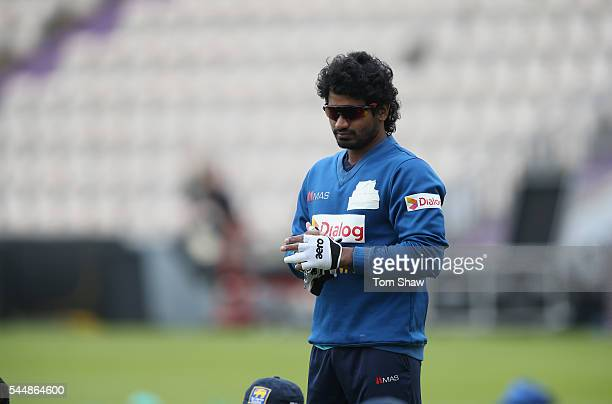 Kusal Perera of Sri Lanka warms up during the Sri Lanka nets session at Ageas Bowl on July 4 2016 in Southampton England