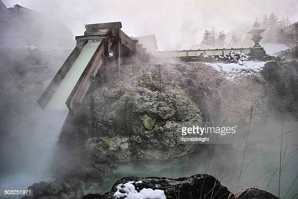kusatsu in snow - gunma prefecture stock photos and pictures