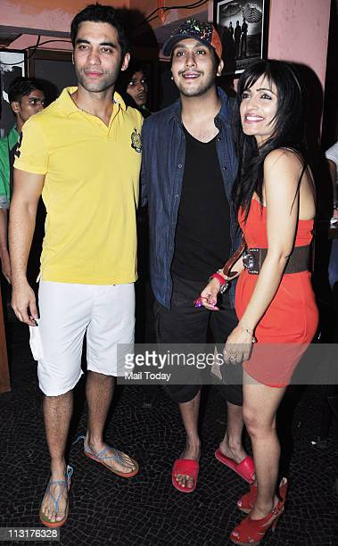 Kushal Punjabi Bappa Lahiri and Shibani Kashyap at Kushal Punjabi's birthday bash at Andheri Mumbai on April 25 2011