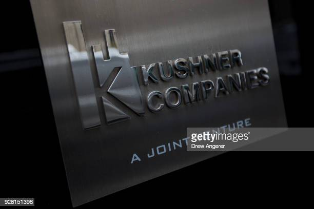 Kushner Companies logo is visible near an entrance to the Kushner Companies' flagship property 666 Fifth Avenue in Midtown Manhattan March 6 2018 in...