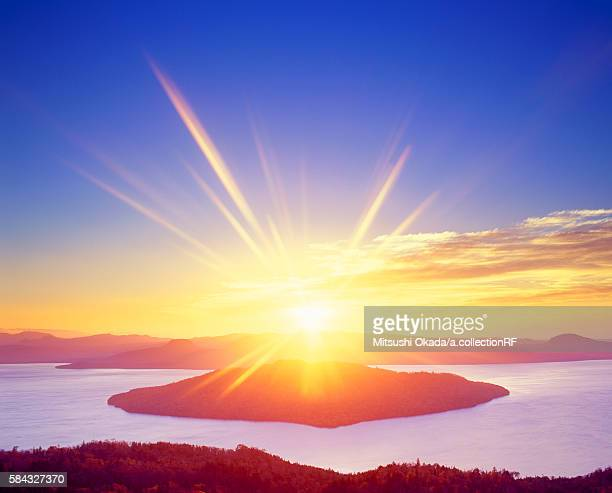 Kussharo lake at sunrise