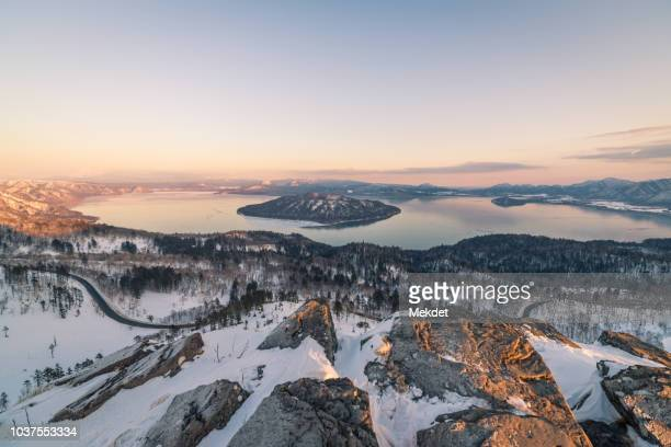 kussharo lake in winter, hokkaido, japan - hokkaido stock pictures, royalty-free photos & images