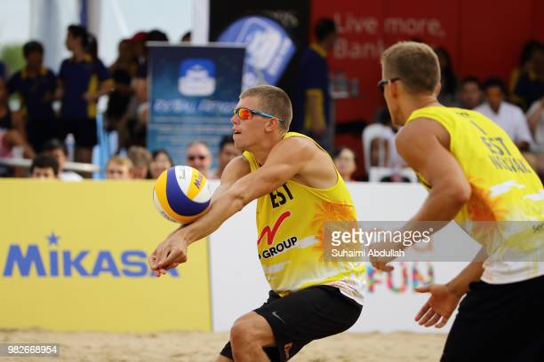 Kusti Novak and Mart Tiisaar of Estonia in action during the main draw final 1st place men's match against Gao Peng and Li Yang of China on day three...