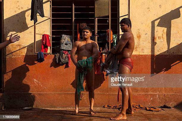 Kusti wrestler inside the Motibag Talim Wrestling center, an Akhara of Kolhapur. Maharashtra.
