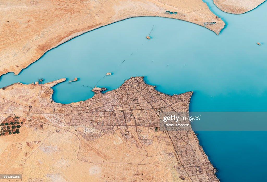 Kuwait City 3D Render Satellite View Topographic Map Horizontal : Stock Photo