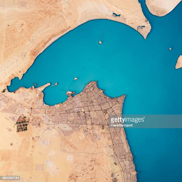 Kuwait City 3D Render Satellite View Topographic Map