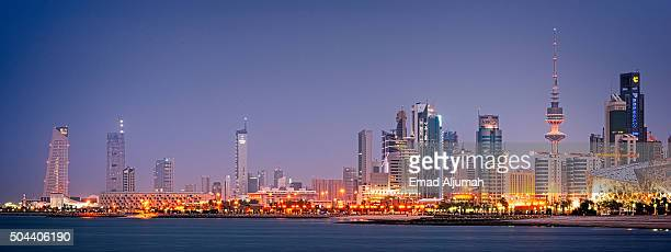 kuwait city cityscape - kuwait city stock photos and pictures