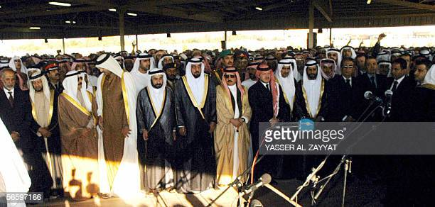 Arab leaders and Kuwaiti officials pray over the coffin of Kuwait's late Emir Sheikh Jaber alAhmad alSabah who died Sunday aged 79 after 28 years in...